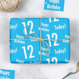 12th Birthday Blue Gift Wrapping Paper & Tags (1 Sheet & 2 Tags) - 'Happy Birthday' - '12 Today'